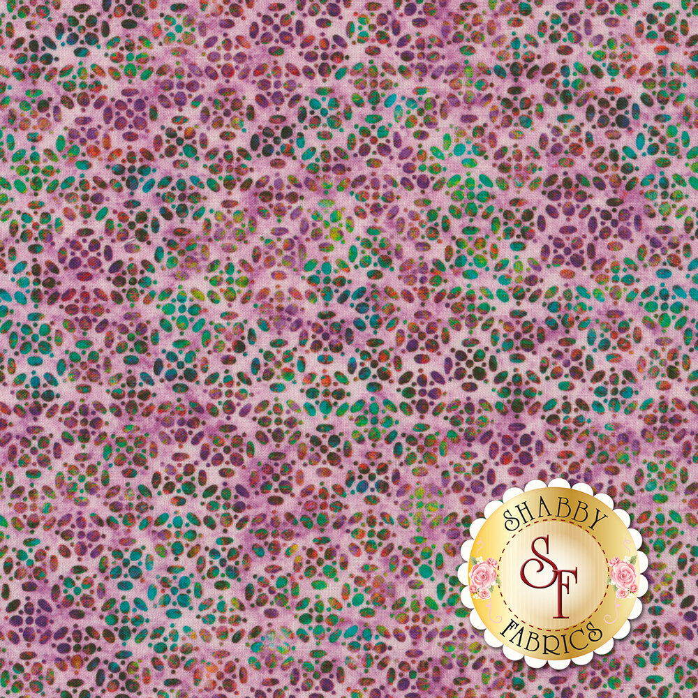 Multicolored geometric speckle design all over mottled light purple | Shabby Fabrics