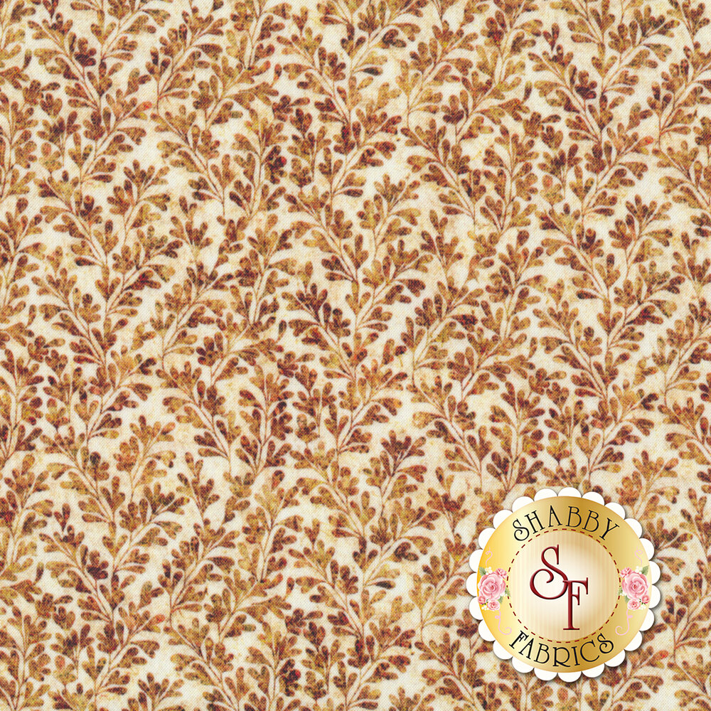 Brown leaves and vines all over cream | Shabby Fabrics