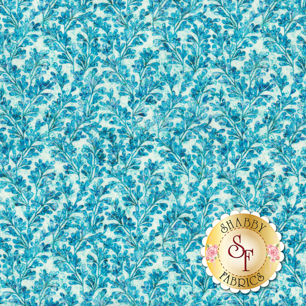 Blue leaves and vines all over cream | Shabby Fabrics