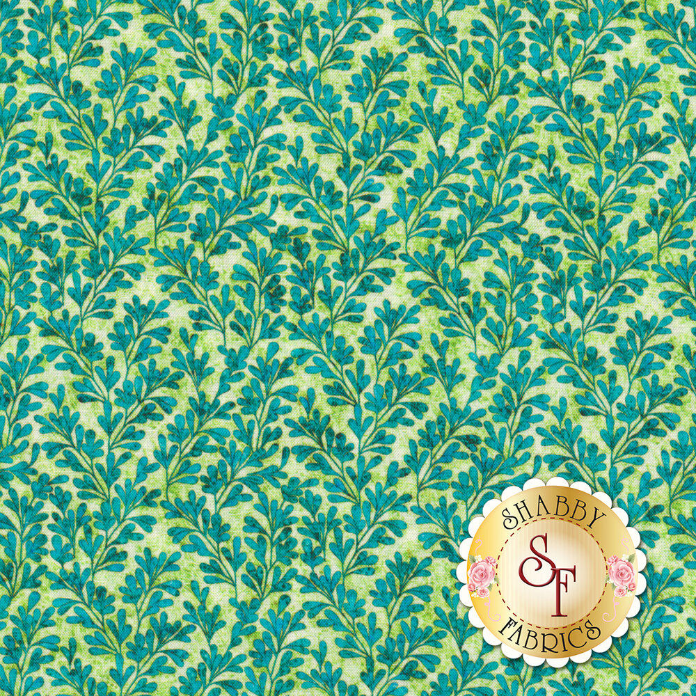 Aqua leaves and vines all over textured light green | Shabby Fabrics