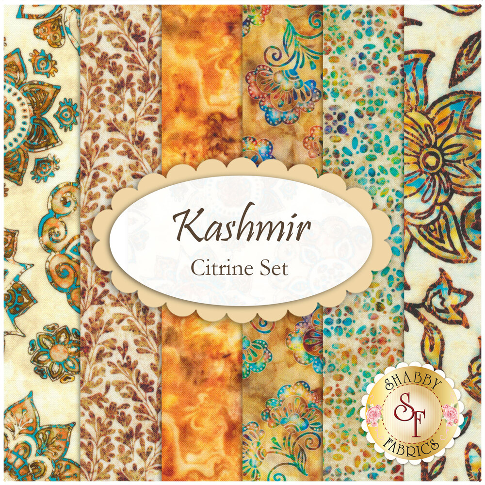 Collage of fabrics included in Kashmir Citrine Set | Shabby Fabrics