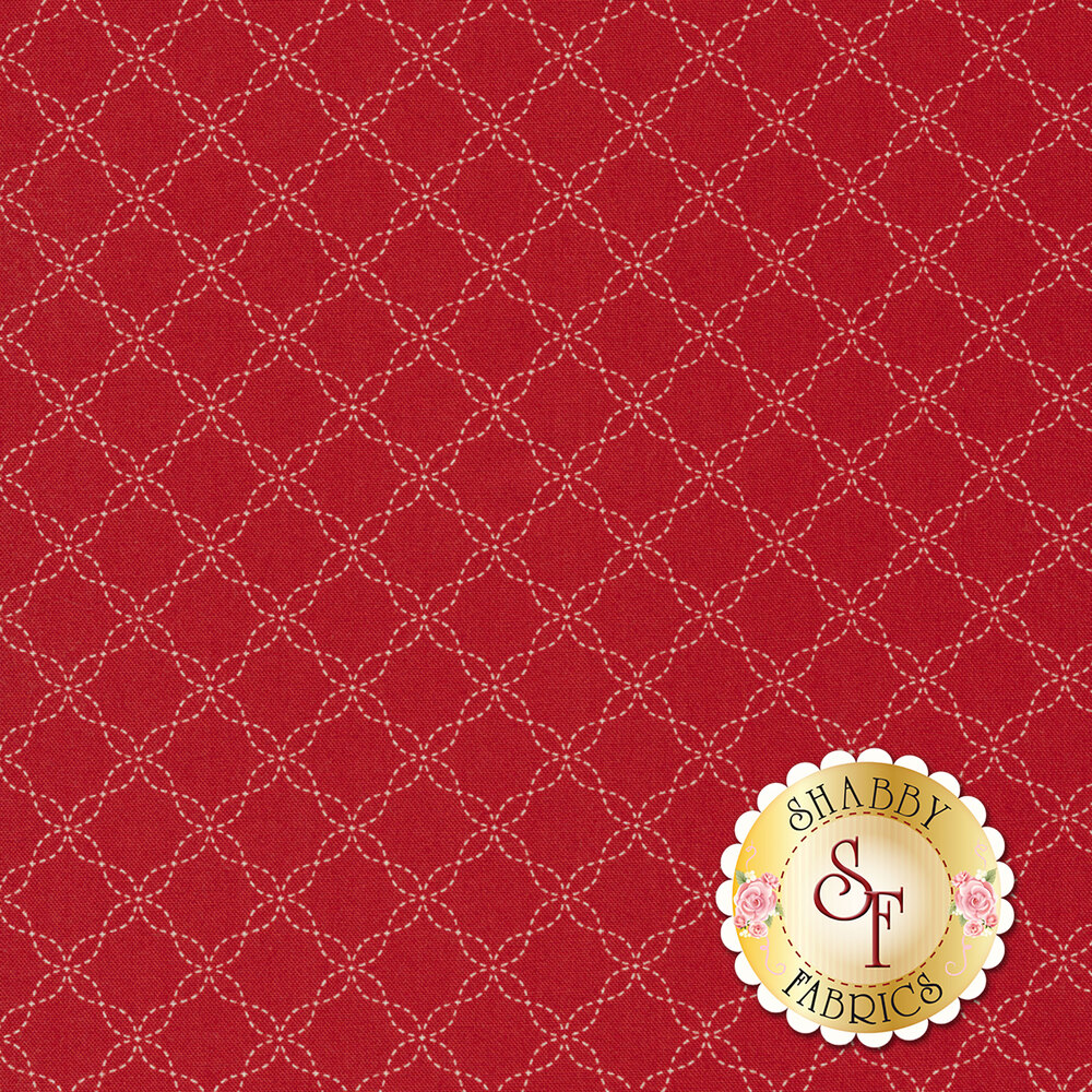 White lattice design on red | Shabby Fabrics