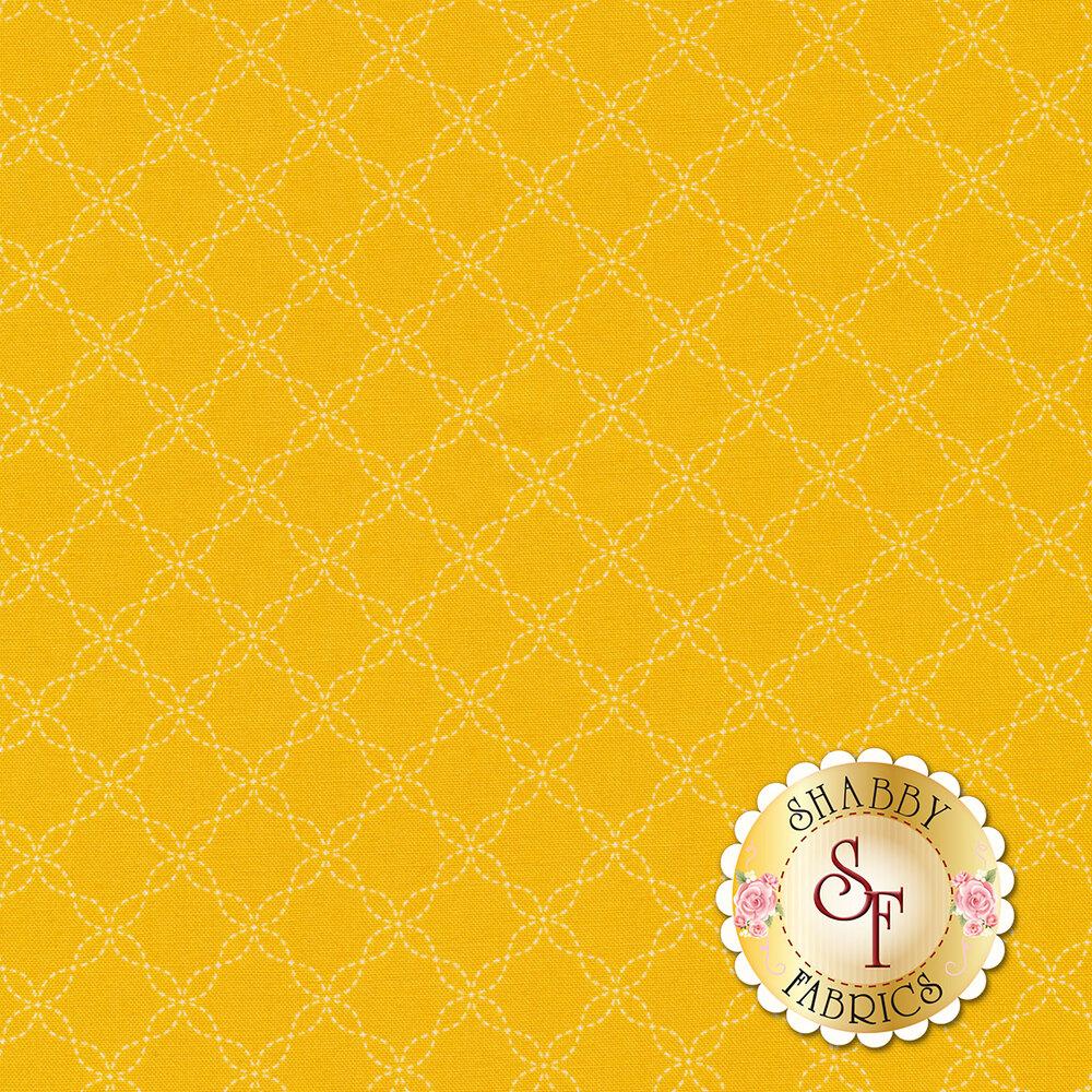 White lattice design on yellow | Shabby Fabrics