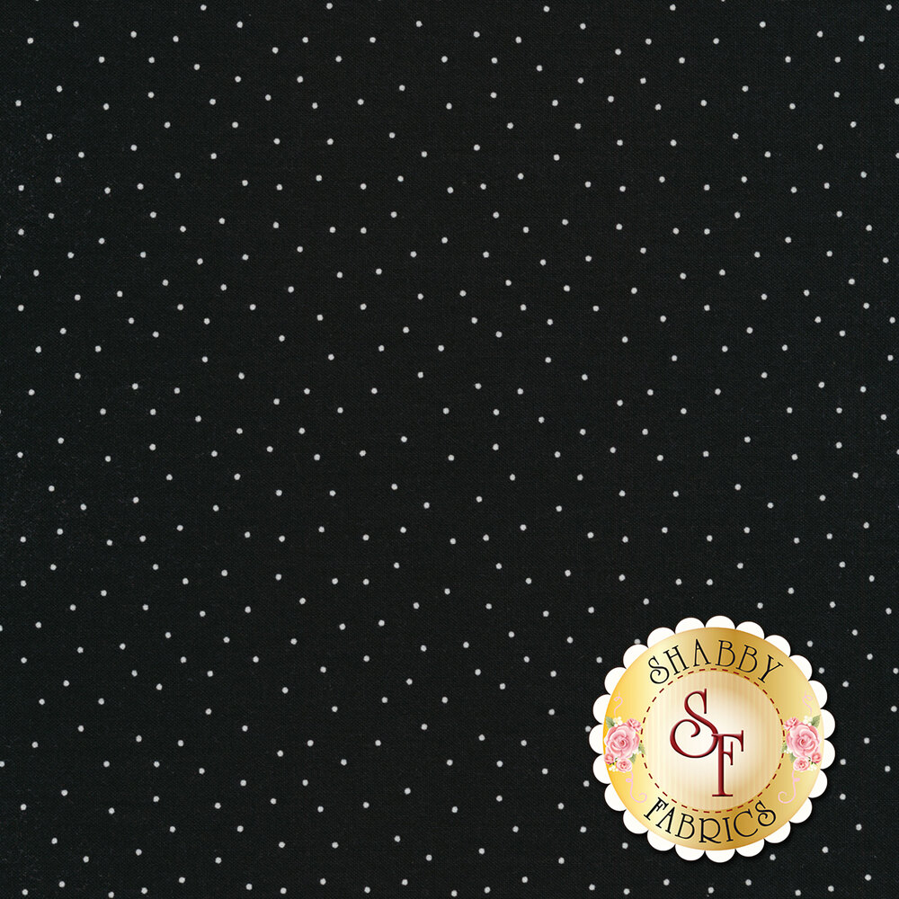 Scattered white pin dots on black | Shabby Fabrics