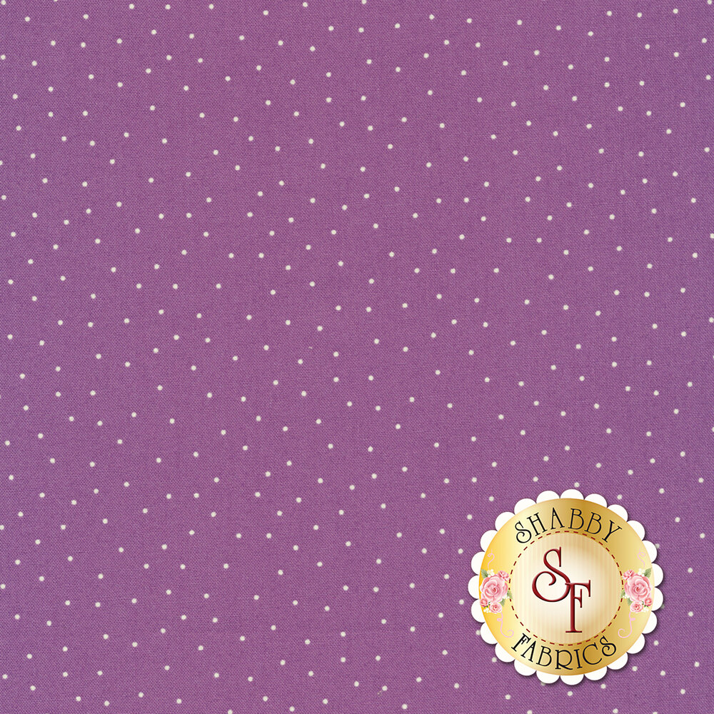 White scatter dots on purple | Shabby Fabrics