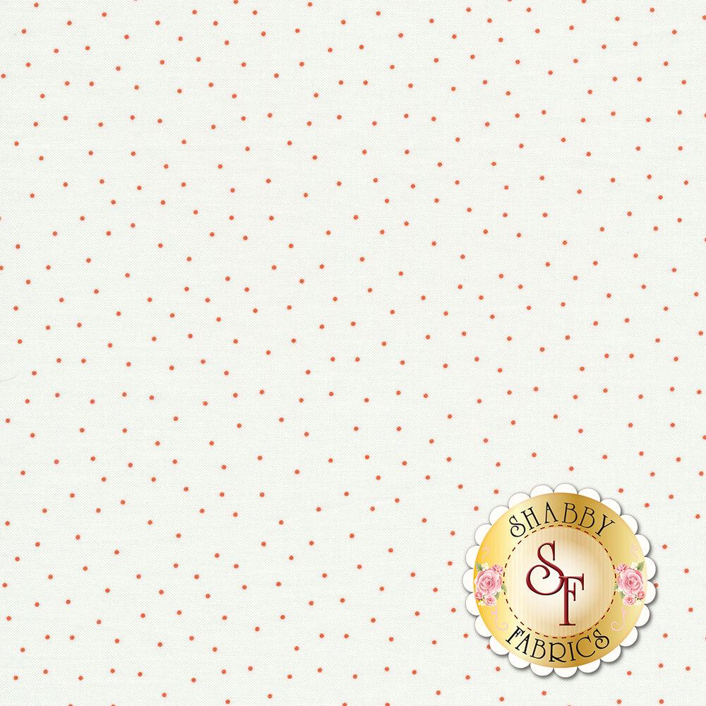Orange scatter dots on white | Shabby Fabrics
