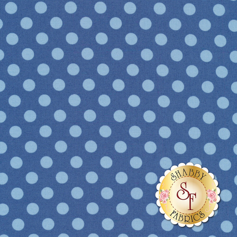 Tonal light blue polka dots on blue | Shabby Fabrics