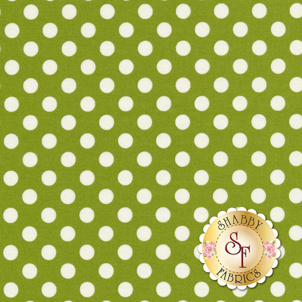 White polka dots on green | Shabby Fabrics