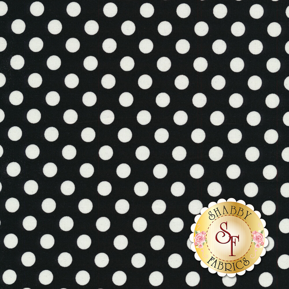 White polka dots on black | Shabby Fabrics