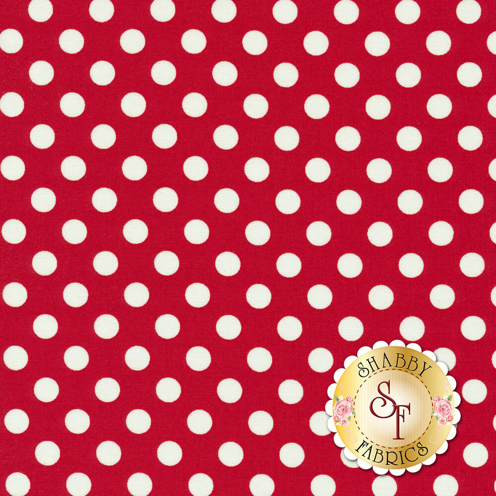White polka dots on red | Shabby Fabrics