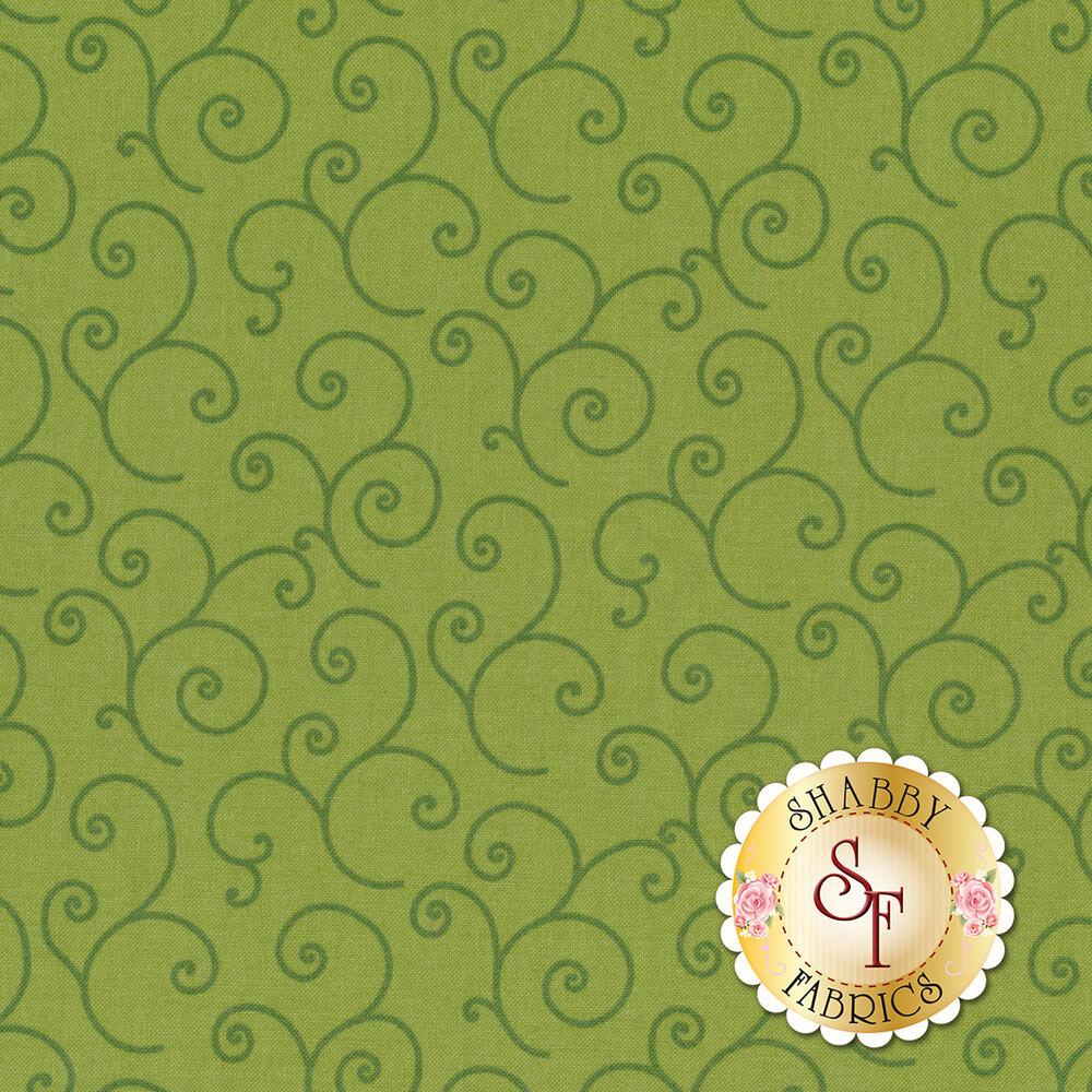 Tonal dark green swirls on a light green background | Shabby Fabrics