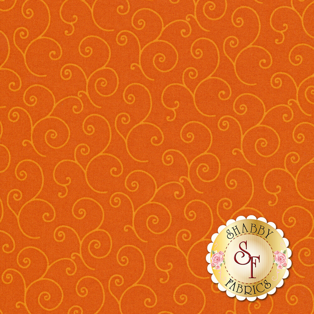 Tonal orange scrolls on orange | Shabby Fabrics