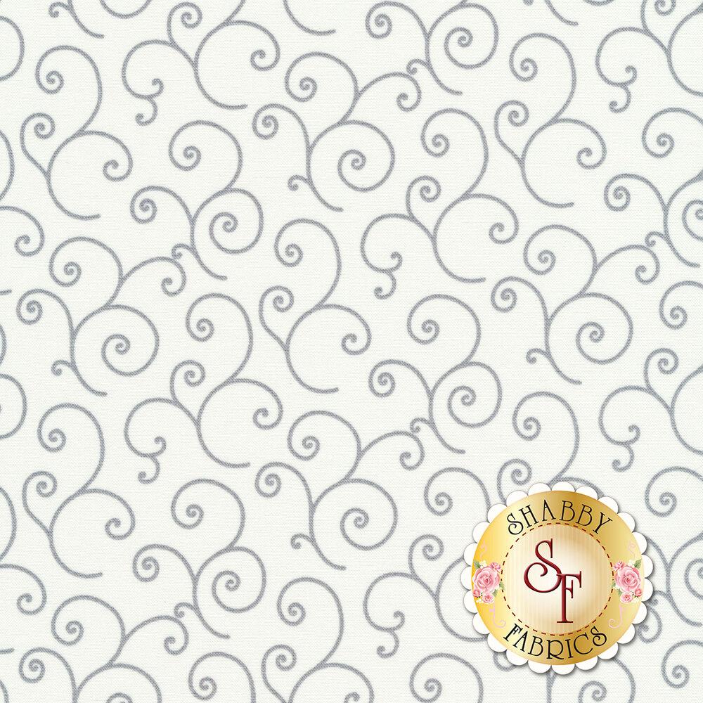 Gray scrolls all over white | Shabby Fabrics