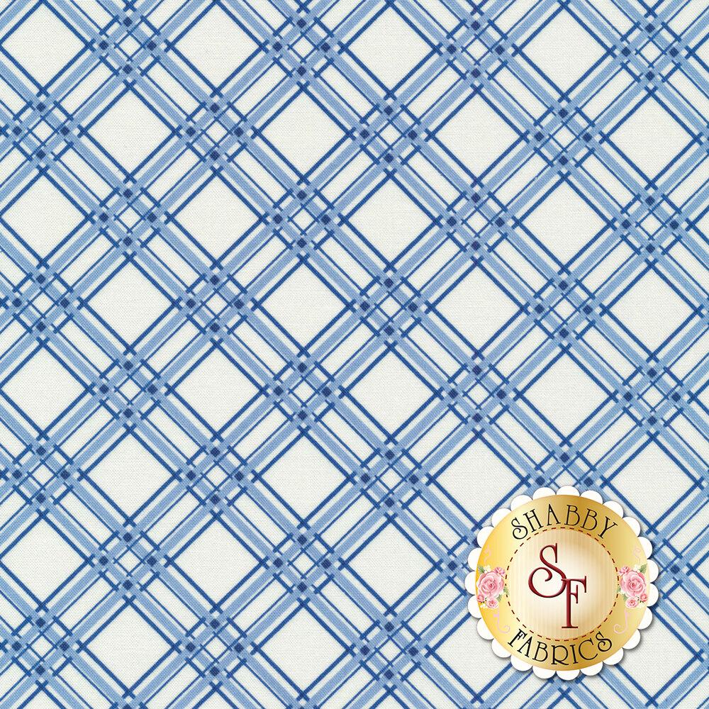 Blue and white diagonal plaid | Shabby Fabrics