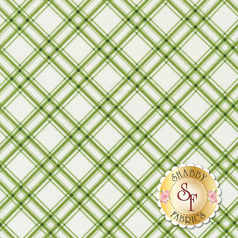 Diagonal green plaid design on white | Shabby Fabrics