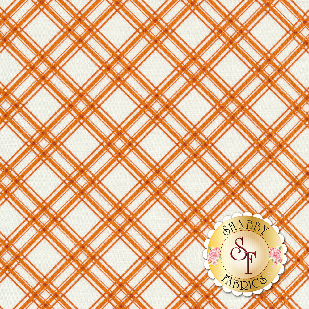 Orange diagonal plaid design on white | Shabby Fabrics