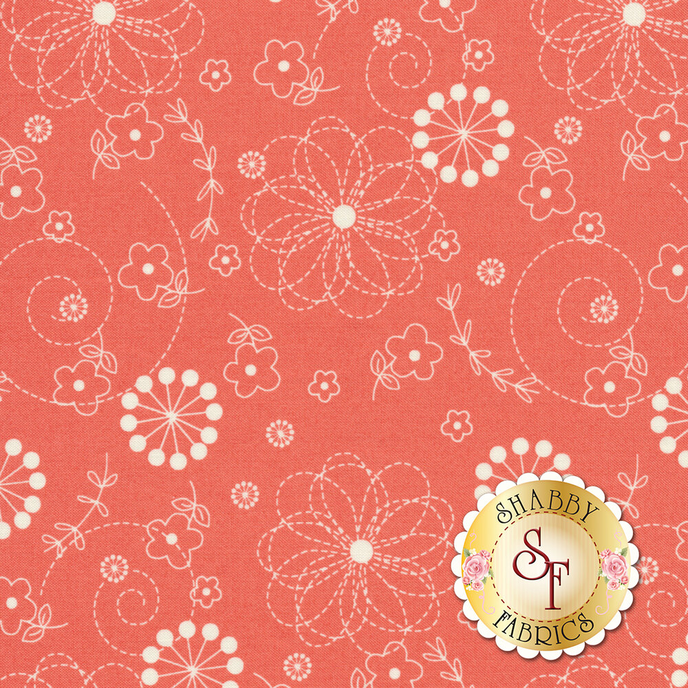 White flowers on pink | Shabby Fabrics