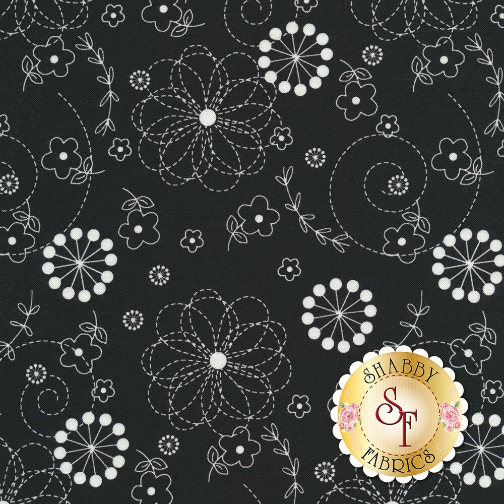 White flowers on black | Shabby Fabrics