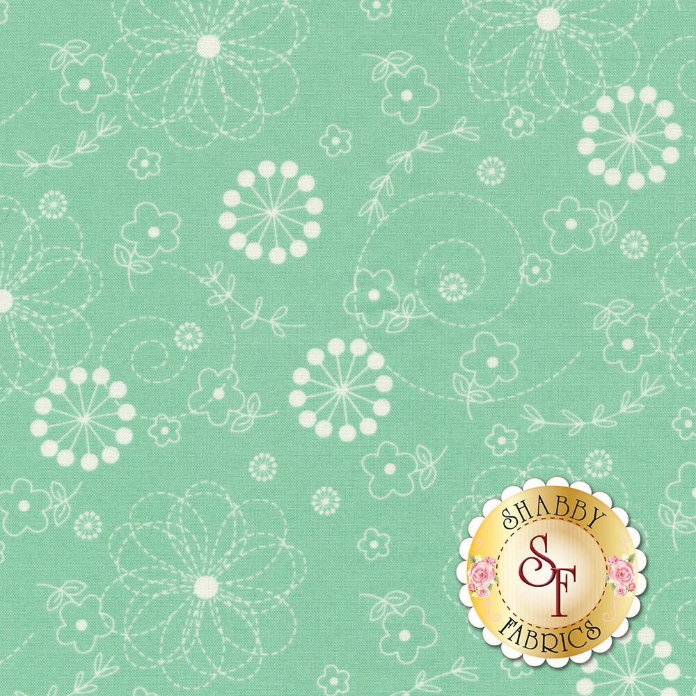White flowers on teal | Shabby Fabrics