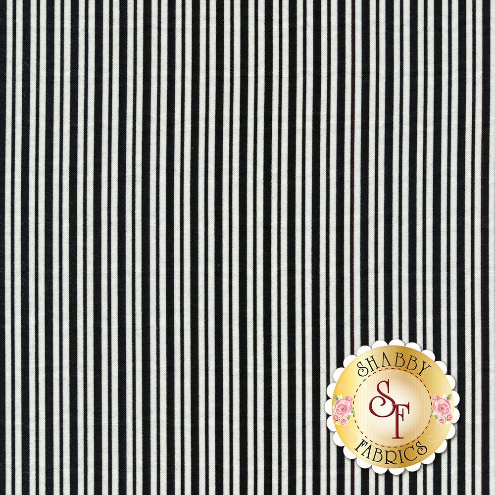 Black and white striped fabric | Shabby Fabrics
