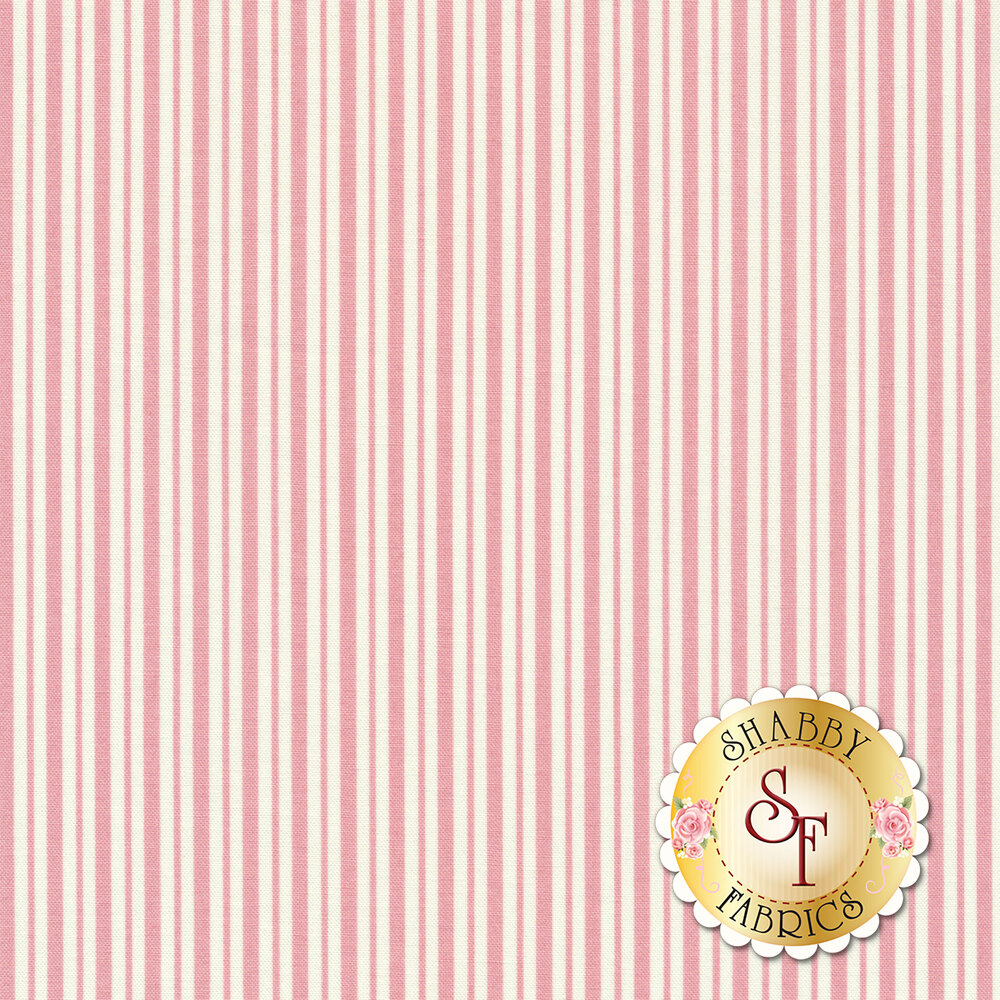 Pink and white striped fabric | Shabby Fabrics