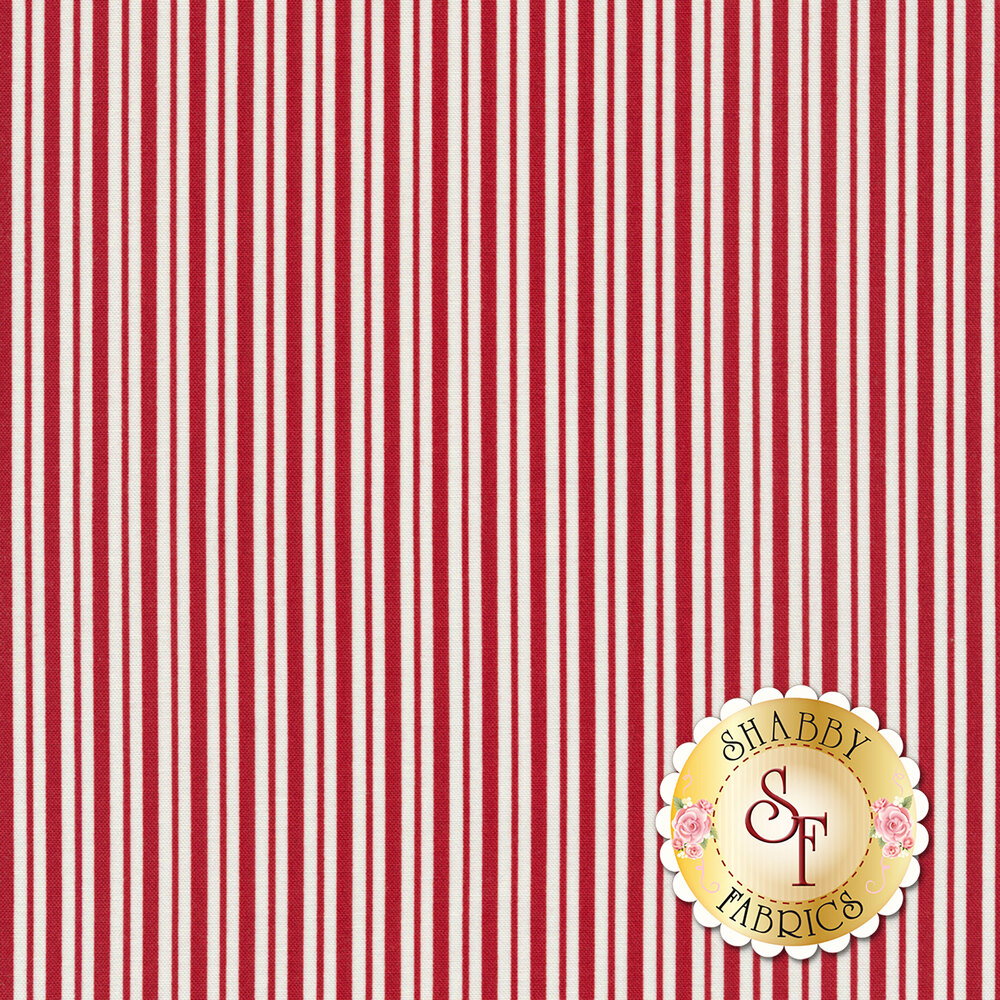 Red and white striped fabric | Shabby Fabrics