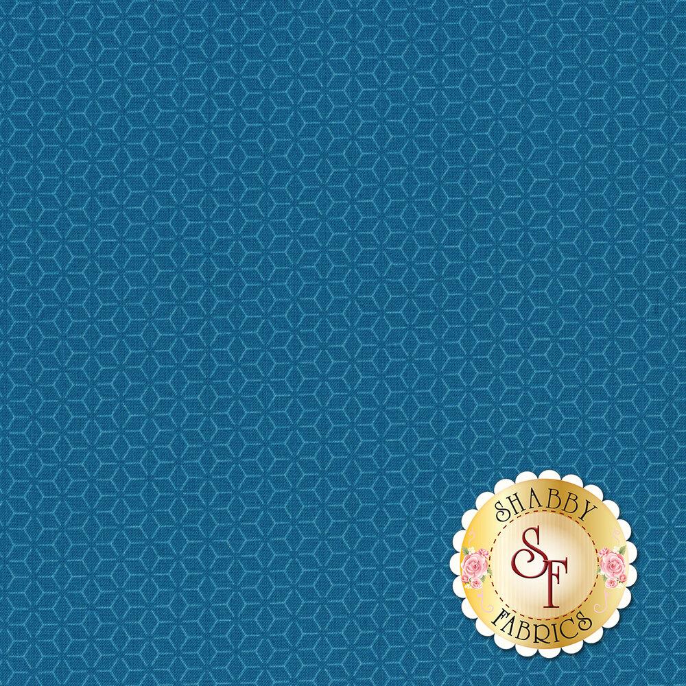 Tonal blue geometric star design | Shabby Fabrics