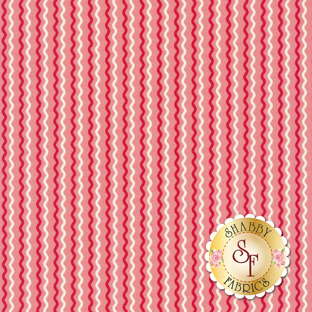 Dark pink and white wavy stripes on pink | Shabby Fabrics