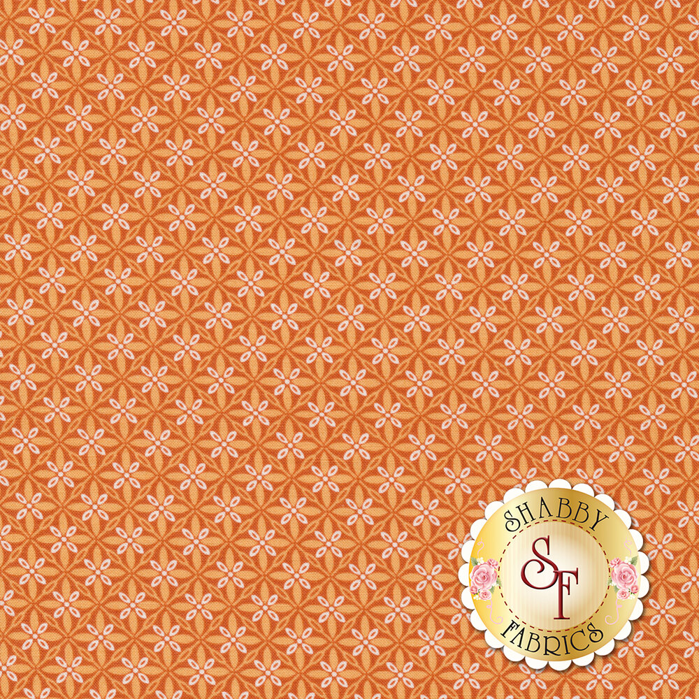 Tonal orange geometric star design | Shabby Fabrics