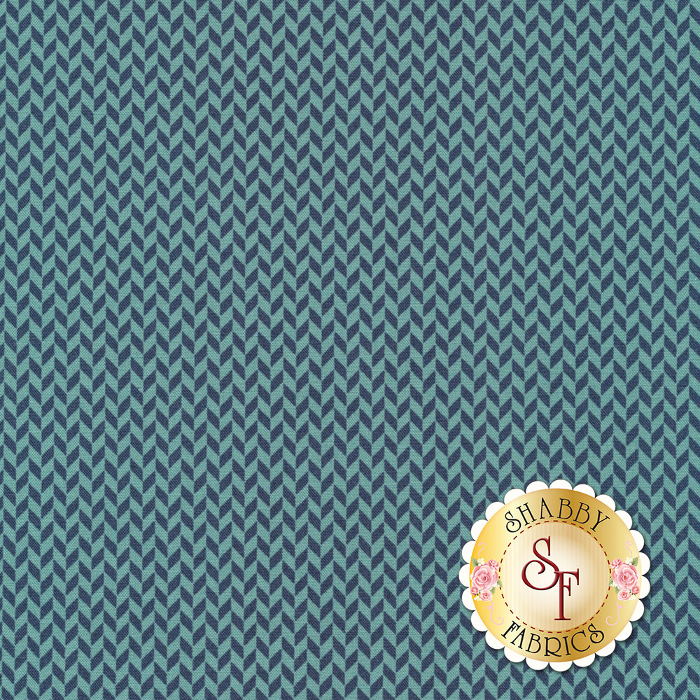 Blue and teal herringbone design | Shabby Fabrics