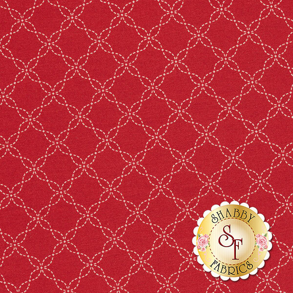 Red fabric with white cathedral window stitched designs | Shabby Fabrics