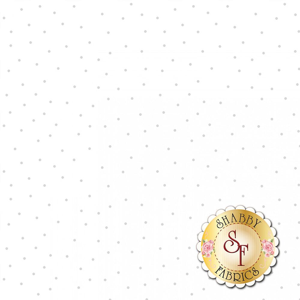 Gray scattered dots all over white representing white on white design | Shabby Fabrics
