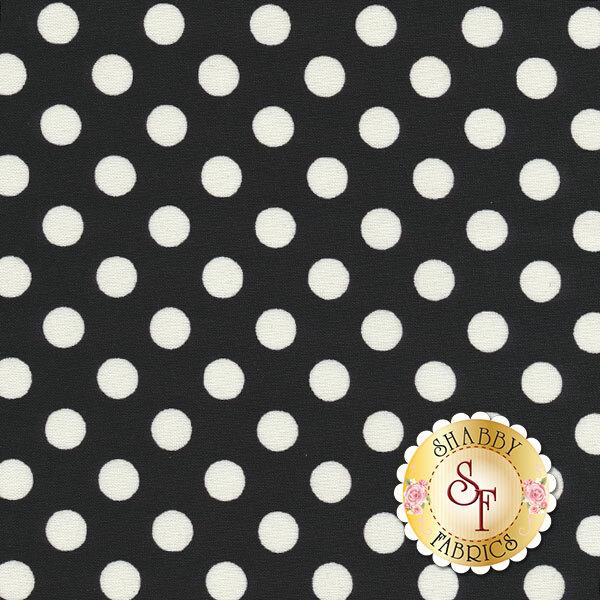 White polka dots on black | Shabby Fabrics
