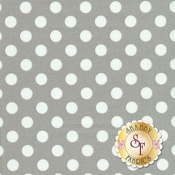White polka dots on light gray | Shabby Fabrics