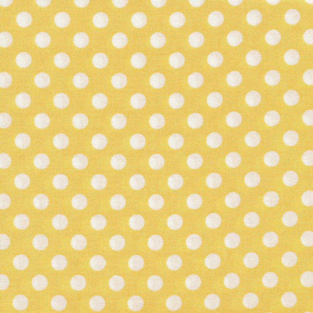 White polka dots on yellow | Shabby Fabrics