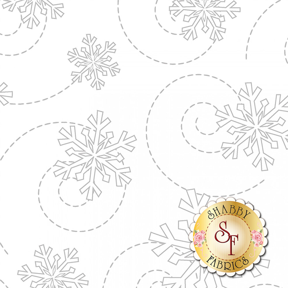 Tonal white trailing snowflake design | Shabby Fabrics