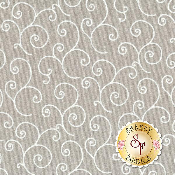 White swirls and scrolls on gray | Shabby Fabrics