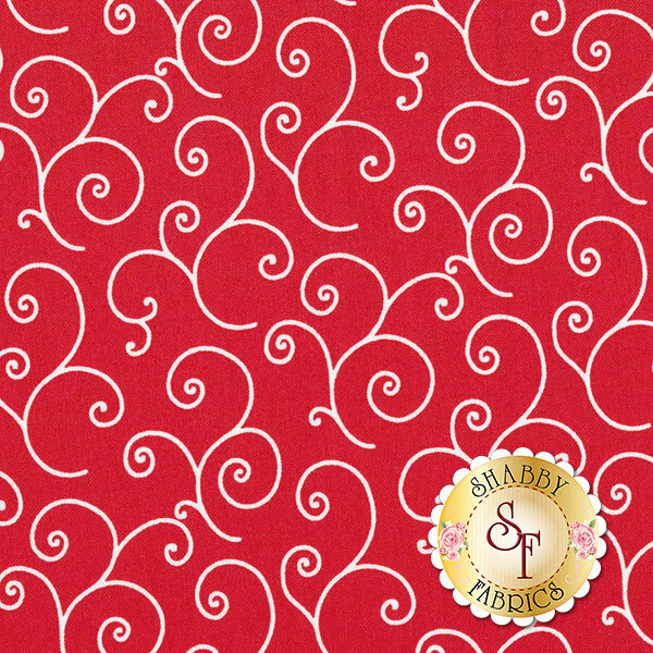 White swirls and scrolls on red | Shabby Fabrics