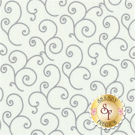 Gray scrolls all over white | Shabby Fabrics