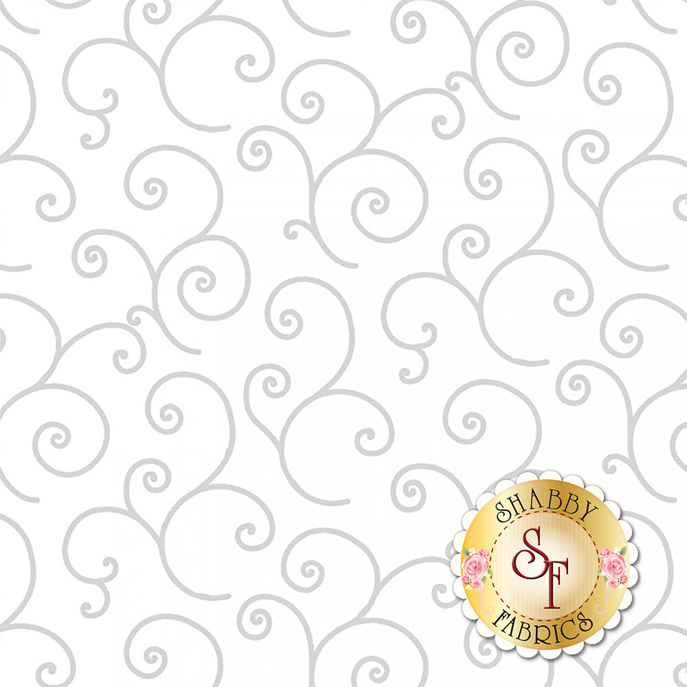 Gray swirls on white representing white on white design | Shabby Fabrics