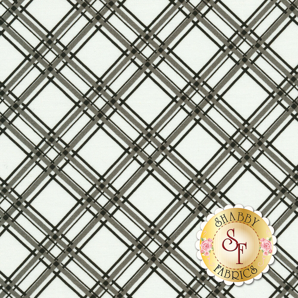 Grey and black diagonal plaid design on white | Shabby Fabrics