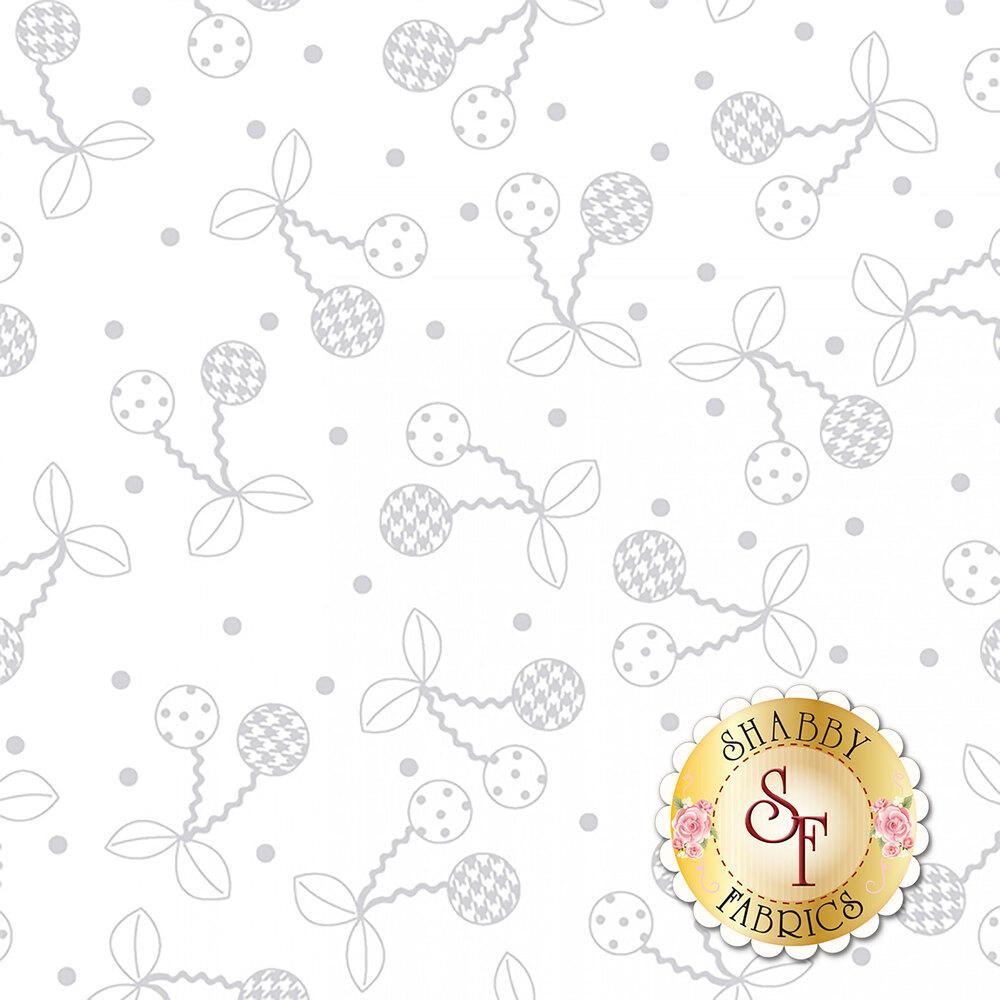 Tonal white cherries   Shabby Fabrics