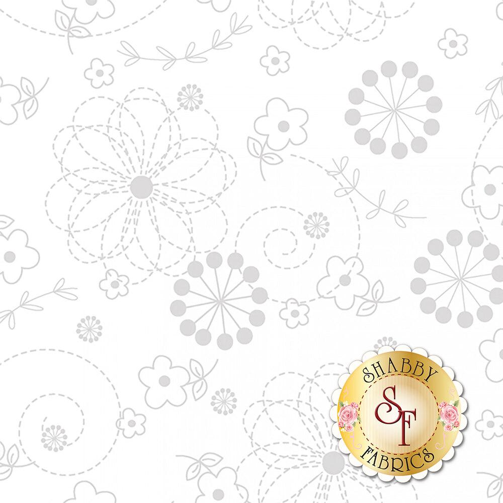 Gray flower doodle design on white to represent white on white design | Shabby Fabrics