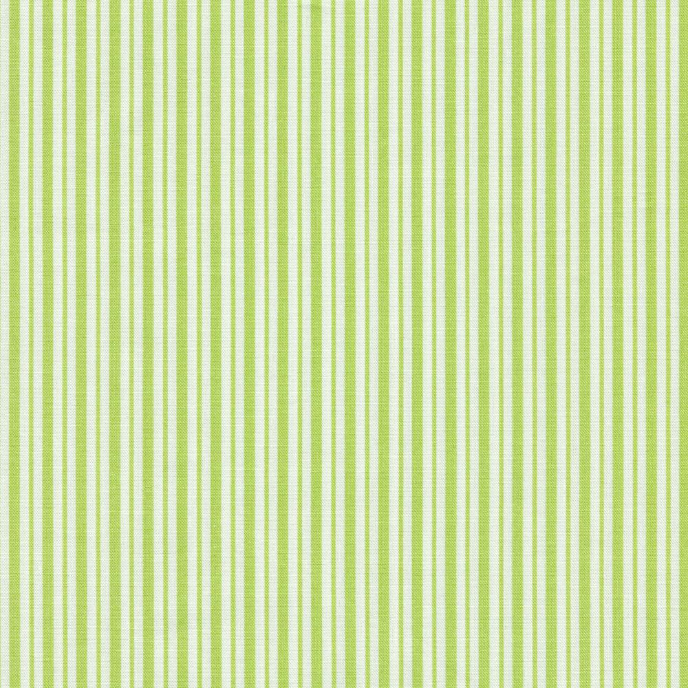 Green and white striped fabric | Shabby Fabrics