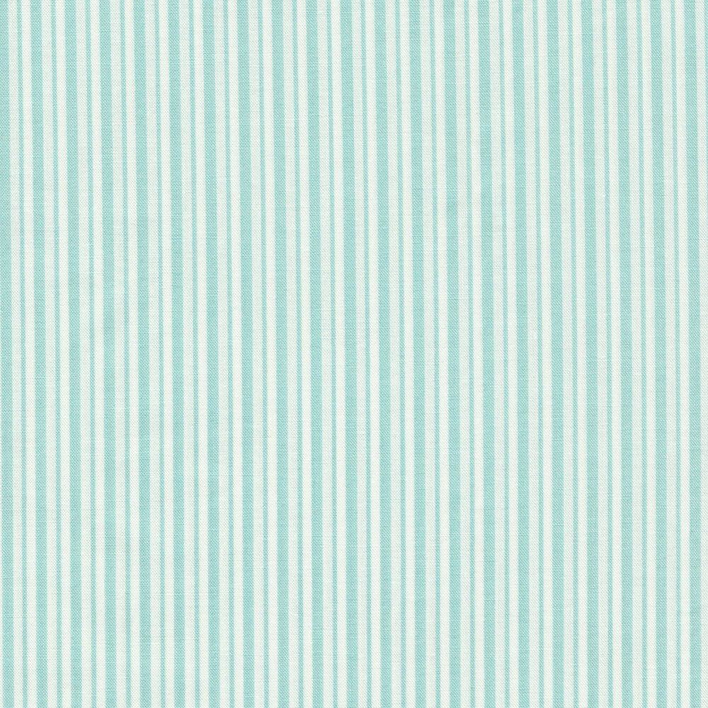 Teal and white striped fabric | Shabby Fabrics