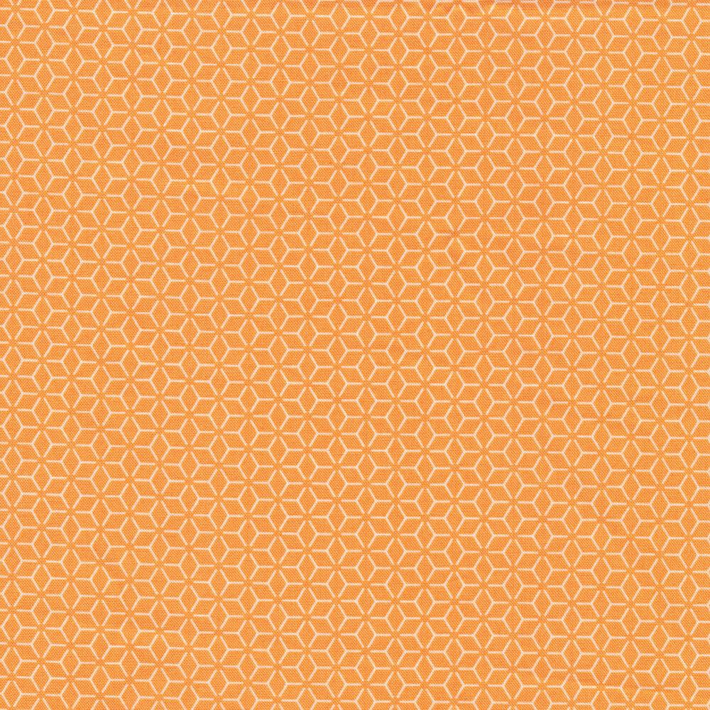 Orange and white geometric star design | Shabby Fabrics