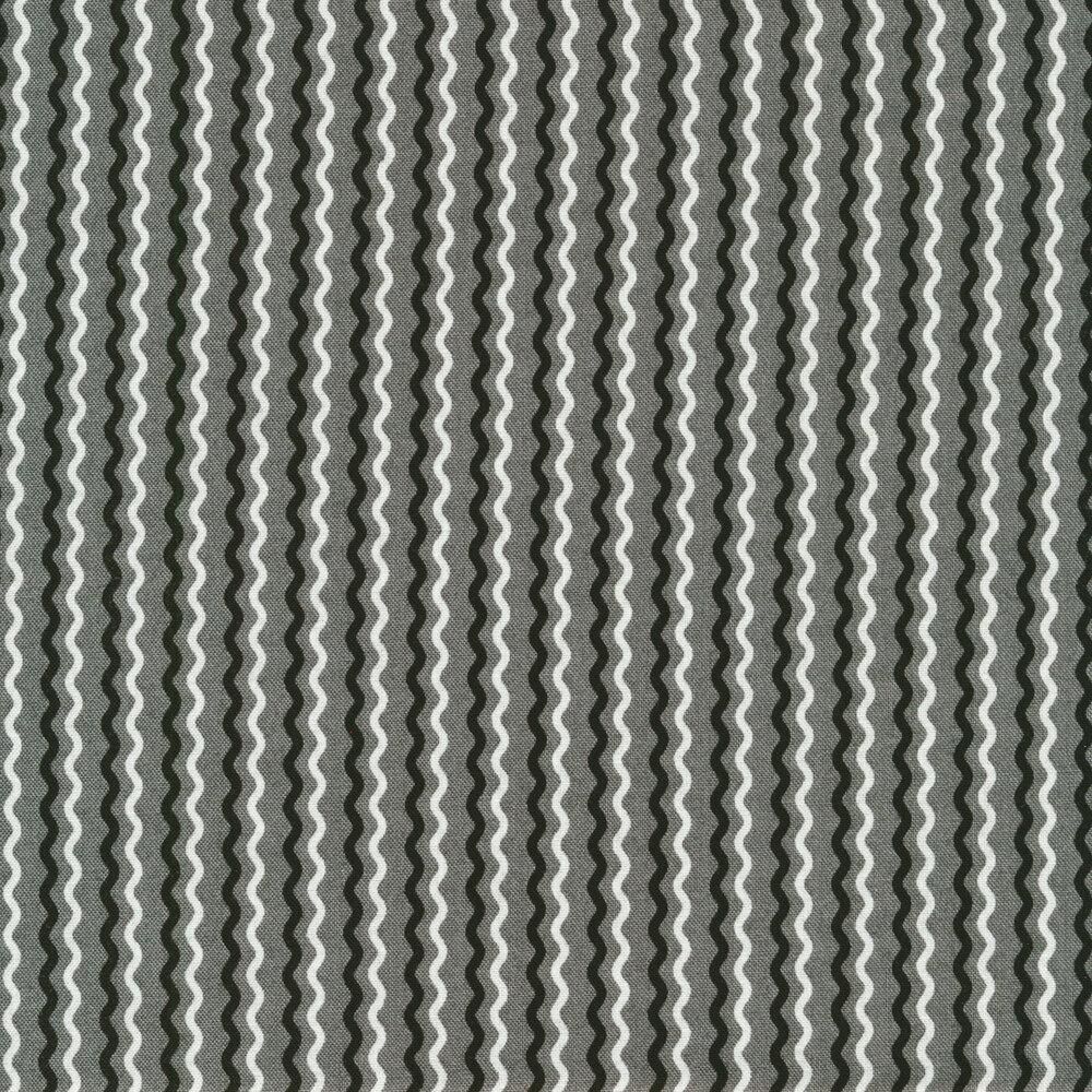 Black and white wavy stripes on gray | Shabby Fabrics