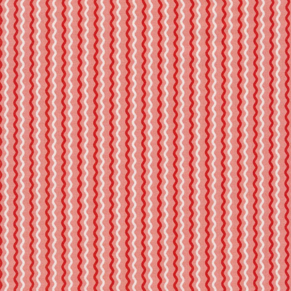 Dark pink and white wavy stripes on pink | Shabby Fabrics
