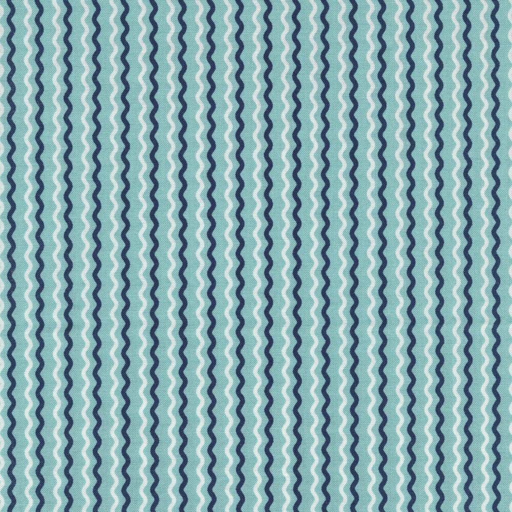Blue and white wavy stripes on aqua | Shabby Fabrics