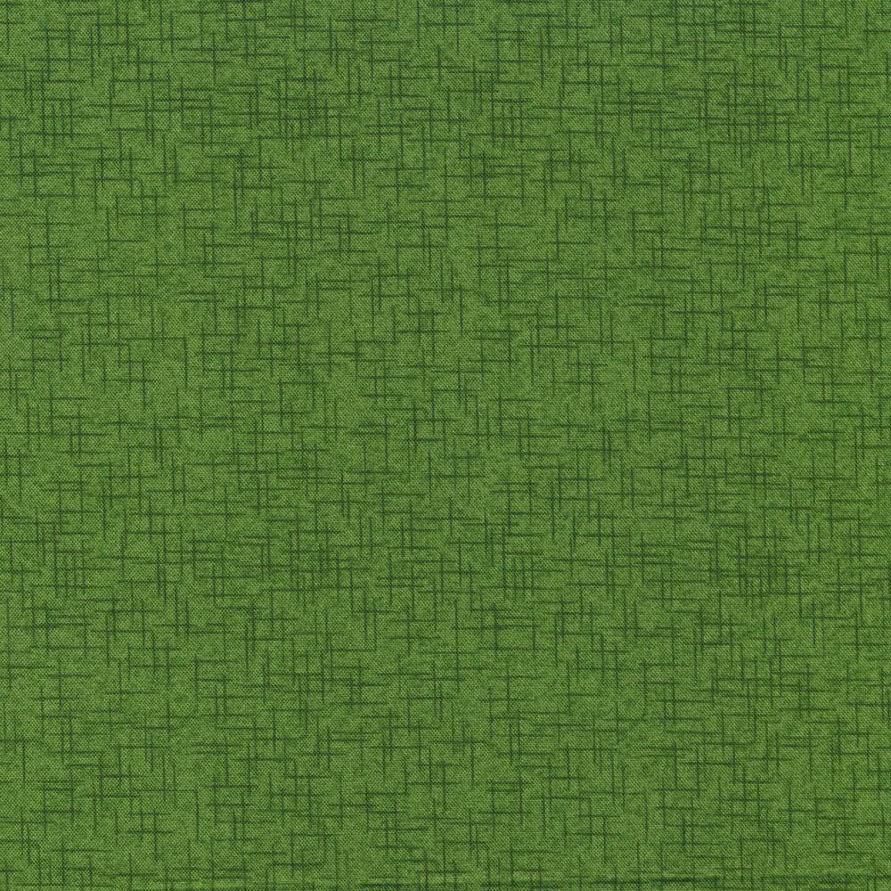 Tonal green textured cross hatch design | Shabby Fabrics